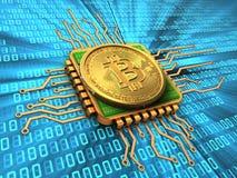 3d bitcoin z jednostki centralnej złotem Zdjęcia Royalty Free