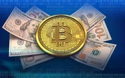 3d bitcoinbankbiljetten Stock Foto
