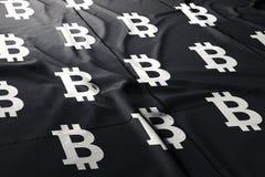 3d Bitcoinbtc cryptocurrency geeft vlag terug vector illustratie