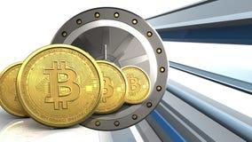 3d bitcoins行 库存图片