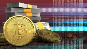 3d bitcoins Zdjęcie Royalty Free