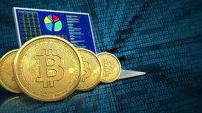 3d bitcoins行 库存照片