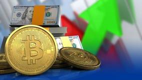 3d bitcoins Stock Afbeelding
