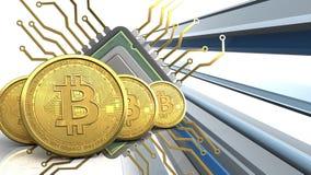 3d bitcoins行 免版税库存照片