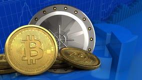 3d bitcoins 库存例证