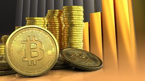 3d bitcoins Stock Foto