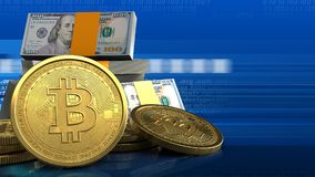 3d bitcoins Obraz Royalty Free