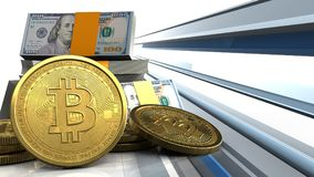 3d bitcoins Royalty-vrije Stock Foto's
