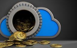 3d bitcoins heap over black. 3d illustration of cloud with bitcoins heap over black background Royalty Free Stock Photos
