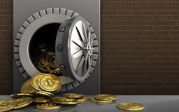 3d bitcoins heap over bricks Stock Photo