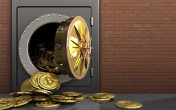 3d bitcoins heap over red bricks Royalty Free Stock Image