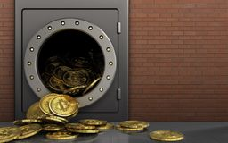 3d bitcoins heap over red bricks Stock Image