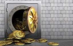 3d bitcoins heap over white stones. 3d illustration of metal safe with bitcoins heap over white stones background Royalty Free Stock Images