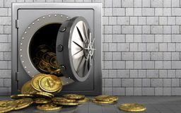 3d bitcoins heap over white stones Stock Photo