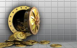 3d bitcoins heap over white wall Stock Images