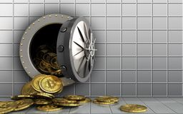 3d bitcoins heap over white wall Royalty Free Stock Image