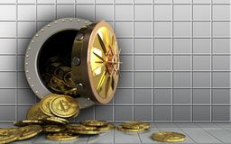 3d bitcoins heap over white wall Stock Image
