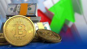 3d bitcoins. 3d illustration of dollars stack over arrows graph background with bitcoins Stock Image