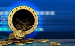 3d bitcoins rozsypisko nad cyber Ilustracja Wektor