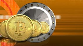 3d bitcoins rząd Fotografia Stock
