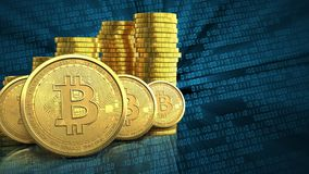 3d bitcoins rząd Zdjęcie Stock