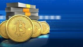 3d bitcoins rząd Obraz Stock