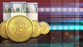3d bitcoins rząd royalty ilustracja