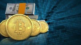 3d bitcoins rząd ilustracja wektor