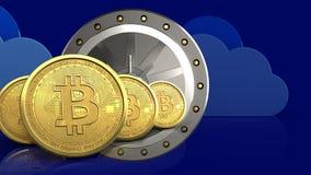 3d bitcoins rząd ilustracji