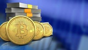 3d bitcoinsrij Royalty-vrije Stock Afbeeldingen
