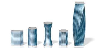 3D biurowych buildings/drapacze chmur Fotografia Royalty Free