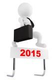 3d biznesmen skacze nad 2015 rok barierą Obrazy Stock