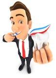 3d biznesmen szczotkuje jego zęby i trzyma ząb Obrazy Royalty Free