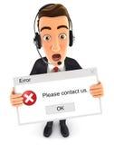 3d biznesmen trzyma błąd wiadomość ilustracji