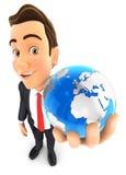 3d biznesmen trzyma błękit ziemię Obraz Stock