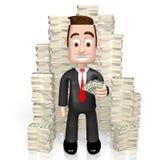 3D biznesmen, USA dolarów pojęcie ilustracja wektor