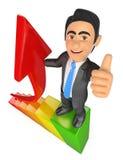 3D biznesmen w wierzchołku prętowy wykres Wzrostowa metafora royalty ilustracja