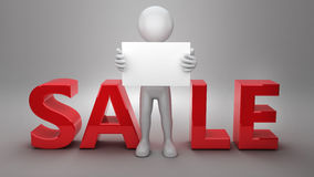 3d biznesmena reklama na sprzedaży Obraz Royalty Free