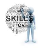 3d biznesmena writing umiejętności wordcloud na dotyka ekranie ilustracji