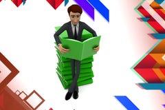 3d biznesowego mężczyzna książki stosu illstration Obrazy Royalty Free