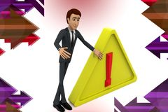3d biznesowego mężczyzna sig ostrzegawczy illstration Zdjęcie Royalty Free