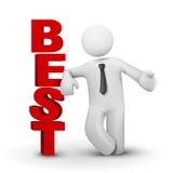 3d biznesowy mężczyzna przedstawia słowa najlepszy pojęcie Zdjęcie Stock