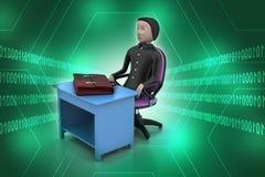 3d biznesowy mężczyzna z teczką w biurze Fotografia Stock