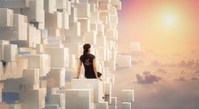 3D bizneswoman patrzeje i marzy o przyszłości royalty ilustracja