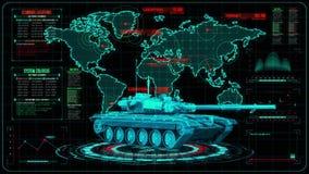 3D blå röd behållare HUD Interface Motion Graphic Element stock illustrationer
