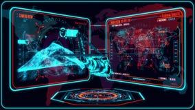 3D blå röd helikopter HUD Interface Motion Graphic Element vektor illustrationer