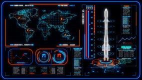 3D blåa orange HUD Rocket Interface Motion Graphic Element vektor illustrationer