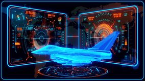 3D blåa orange Jet Fighter HUD Interface Motion Graphic Element stock illustrationer