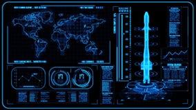 3D blått HUD Rocket Interface Motion Graphic Element royaltyfri illustrationer