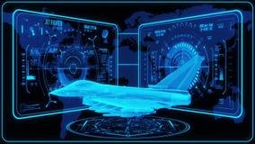 3D blått Jet Fighter HUD Interface Motion Graphic Element vektor illustrationer